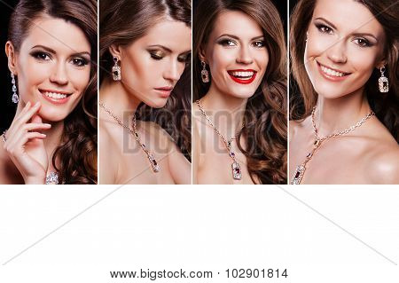 Beauty collage of beautiful happy woman with perfect makeup wearing jewelry. fashion model