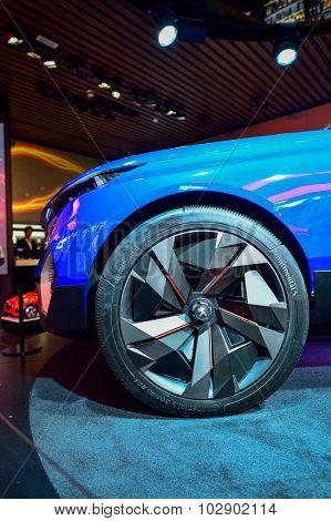 PARIS, FRANCE - AUGUST 09, 2015: Peugeot car details. Peugeot is a French cars brand, part of PSA Peugeot Citroen