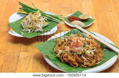 Thai Noodle Or Padthai,garnish,vegetable,shrimp And Blur Background.