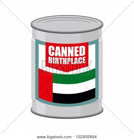 Canned Birthplace. Patriotic Preserved Birthplace. Part Of Motherland In Tin. Preserved Land For Emi