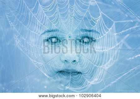 Creepy Zombie Child Face Covered In Spiderweb