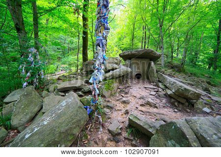 Dolmen at the forest ancient prehistoric building poster