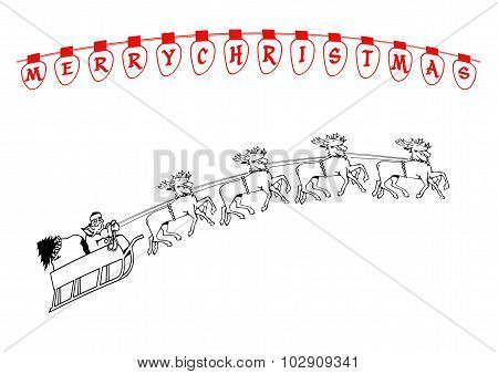 Santa And Reindeer Drawing With Christmas Lights