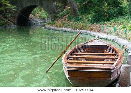 A boat in emerald green