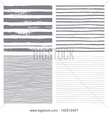 Set Of Four Seamless Strips. Set of thin and thick lines. Vector texture. Brush drawn - rough artist