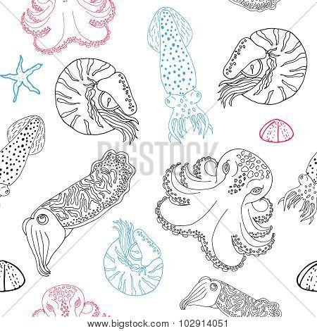 Hand drawn cephalopods seamless pattern