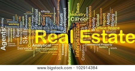 Background concept wordcloud illustration of real estate glowing light