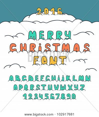 Christmas doodle font under snow, Font in snow. Cartoon