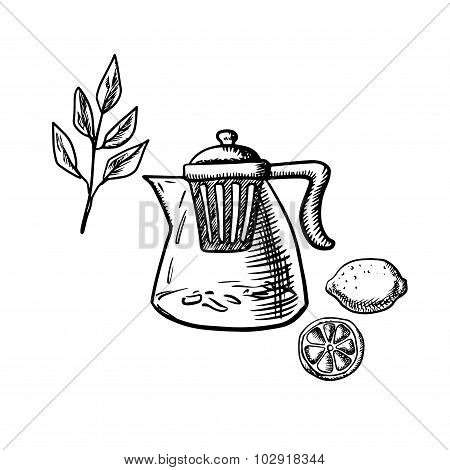 Teapot with infuser, tea leaf and lemon fruit