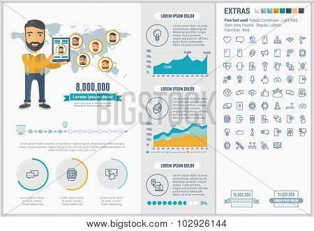 Mobility infographic template and elements. The template includes illustrations of hipster men and huge awesome set of thin line icons. Modern minimalistic flat vector design.