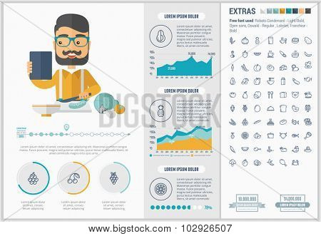 Healthy Food infographic template and elements. The template includes illustrations of hipster men and huge awesome set of thin line icons. Modern minimalistic flat vector design.