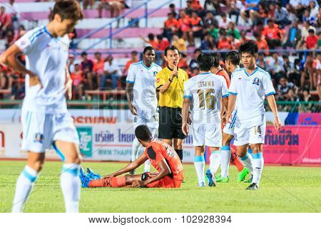 Sisaket Thailand-september 20: The Referee (yellow) In Action During Thai Premier League Between Sis