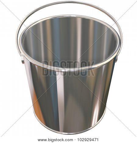 Shiny metal empty silver bucket or pail