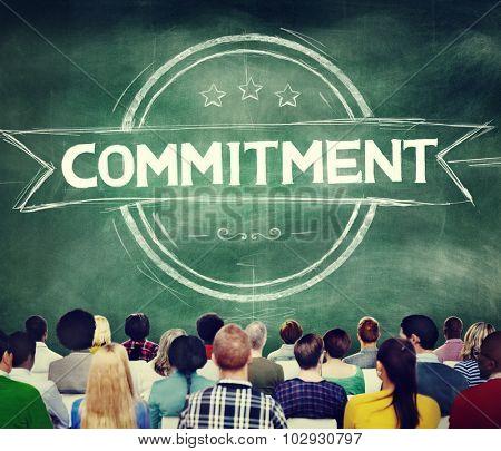 poster of Commitment Devotion Dedication Conviction Concept
