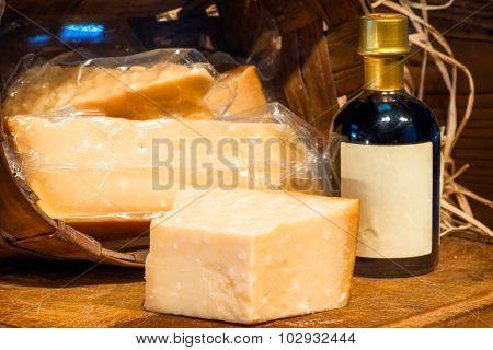 A Piece Of Hard Italian Cheese Parmigiano Reggiano