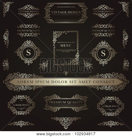 Set of golden decorative vintage design elements for label, logo, emblem design.