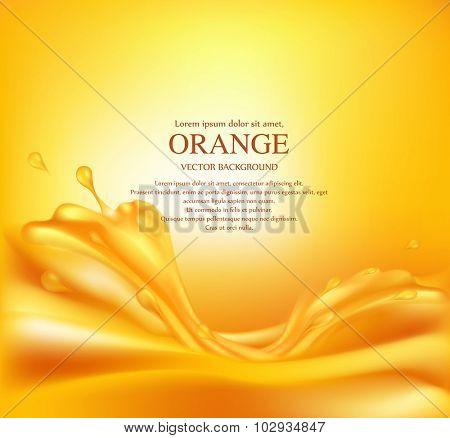 Vector juicy orange background with splashes of juice