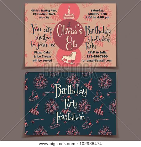 Ice Skating Birthday Party Invitation Card