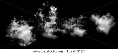 Set Of Real Clouds Looking Like Smoke On Black Background.