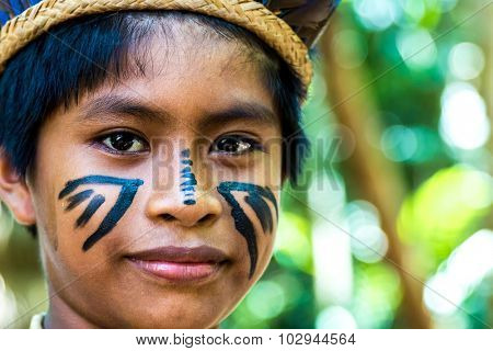 Native Brazilian boy at an indigenous tribe in the Amazon