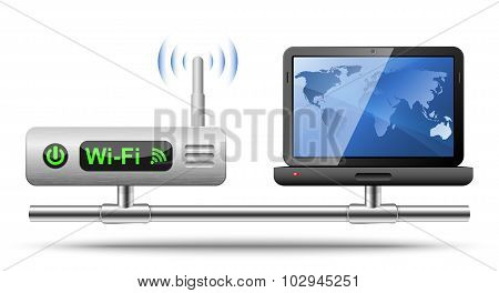 Icon Of A Laptop Connected To A Wireless Router.  Vector Illustration