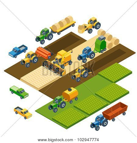 Isometric agricultural equipment, farm tractors, combain, trailers and pickup
