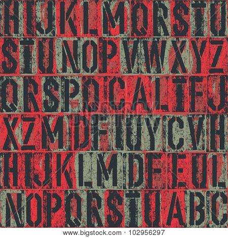 letterpress seamless pattern. Vector background
