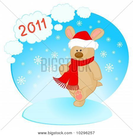 Cartoon little toy bunny in the cap of Santa Claus poster
