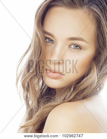 young sweet brunette woman close up isolated on white background