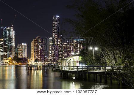 Brisbane City nightscape and Kangaroo Point