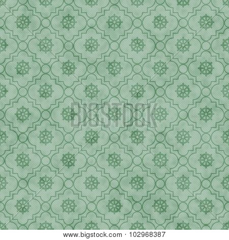 Pale Green Wheel of Dharma Symbol Tile Pattern Repeat Background that is seamless and repeats poster
