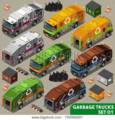 Garbage Truck 01 Vehicle Isometric