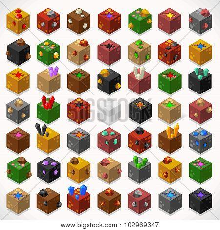 Mine Cubes 02 Elements Isometric