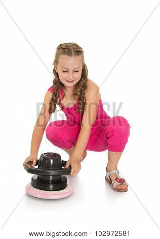 Girl rubs floor