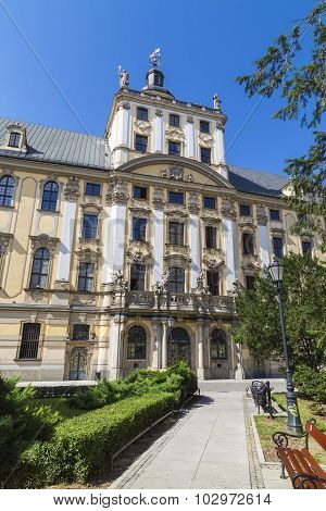 WROCLAW, POLAND - AUGUST 04, 2013: The facade of the building in the city of Wroclaw University. Poland