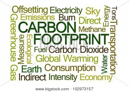 Carbon Footprint Word Cloud on White Background
