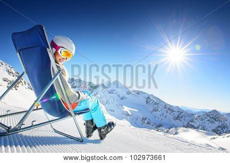 Girl having fun in ski resort