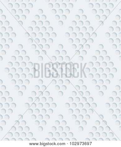 Rhombic dots grill 3d seamless background. Light perforated paper pattern with cut out effect.