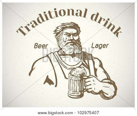 Happy man - craftsman, holding a mug of beer.