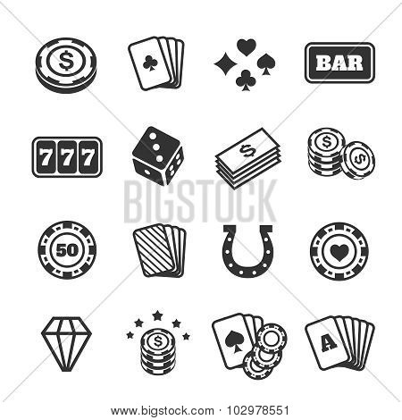 Gambling icons set, casino and card, poker game. Vector illustration