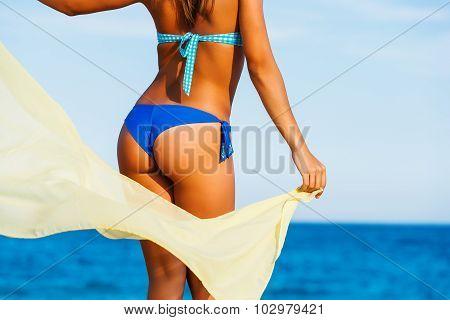 Attractive Female Suntanned Body On Beach.