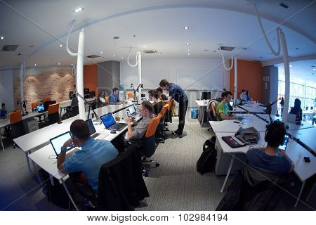 startup business people group working everyday job  at modern office poster