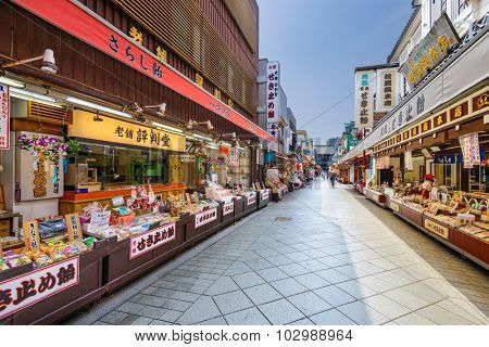 KAWASAKI, JAPAN - AUGUST 7, 2015: The shopping arcade leading to Kawasaki-daishi Temple which was founded in 1128.