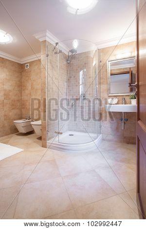 Spacious Warm Bathroom With Shower