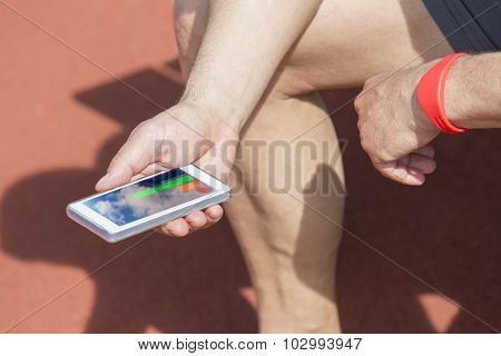 Athlete Checking Fitness Statistic
