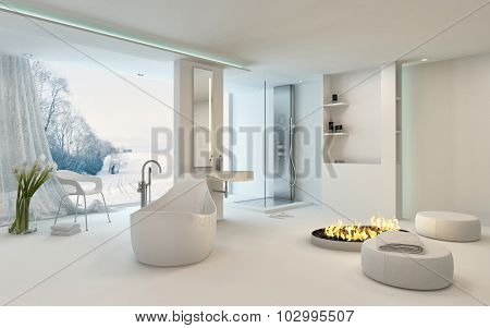 Luxury bright spacious bathroom interior with a cheerful circular fire in the center alongside a freestanding bathtub in front of large view window overlooking a winter garden with snow. 3d Rendering