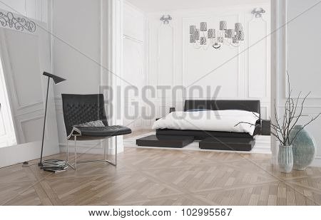 Modern bedroom interior with large recessed double bed in an alcove with white wall and a hardwood parquet floor, 3d rendering