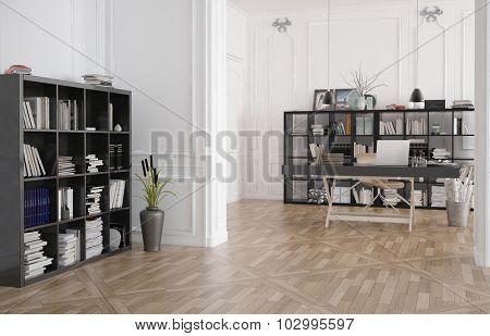 Library, office or reading room interior with bookshelves lining the walls and a wooden parquet floor with central table. 3d Rendering.