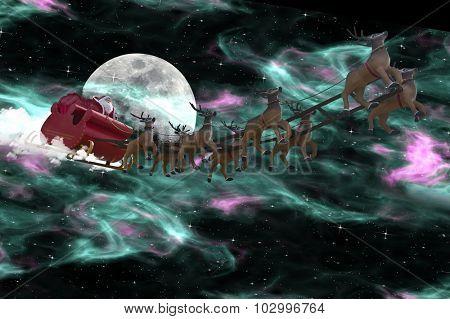 Santa Claus riding a sleigh led by reindeers following the Aurora Borealis
