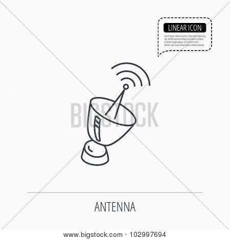 Antenna icon. Sputnik satellite sign.